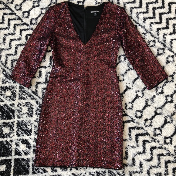 Express Dresses & Skirts - Express red/black sequined long sleeve dress.